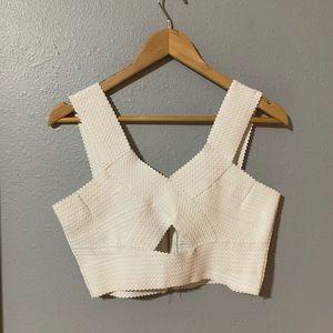White bandage crop top